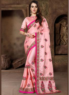 Pink Embroidered Wedding Traditional Saree