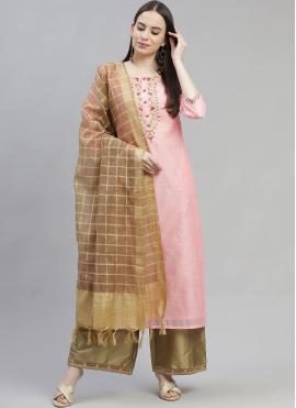 Pink Fancy Chanderi Designer Palazzo Suit