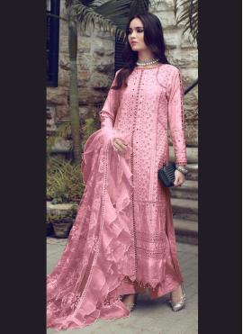 Pink Festival Fancy Fabric Designer Straight Suit