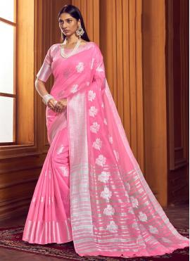 Pink Festival Linen Trendy Saree
