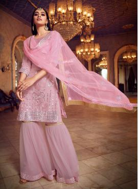 Pink Festival Net Designer Pakistani Suit