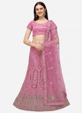 Pink Net Embroidered A Line Lehenga Choli