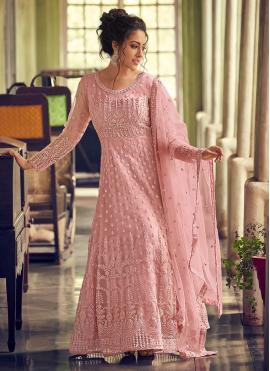 Pink Net Fancy Designer Floor Length Salwar Suit
