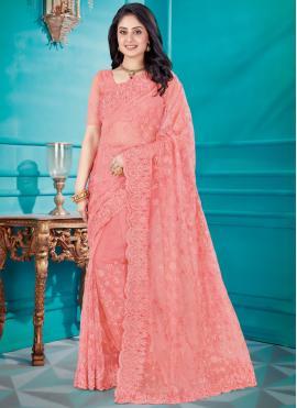 Pink Net Resham Classic Saree