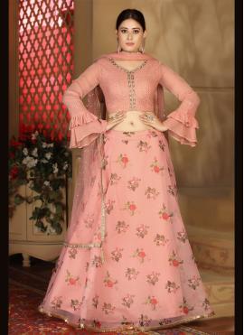 Pink Organza Fancy Readymade Lehenga Choli