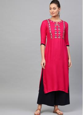 Pink Party Party Wear Kurti