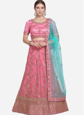 Pink Patch Border Net Lehenga Choli