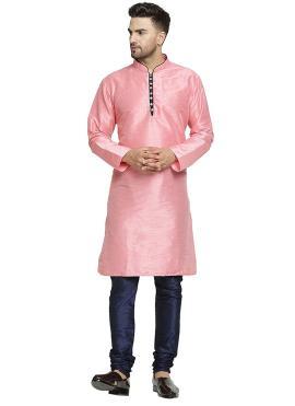 Pink Plain Sangeet Kurta Pyjama