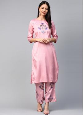 Pink Poly Silk Print Casual Kurti
