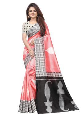 Pink Raw Silk Casual Traditional Saree