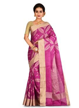 Pink Reception Banarasi Silk Contemporary Saree