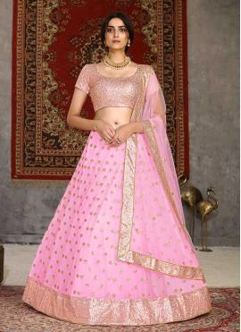Pink Sangeet Net Lehenga Choli