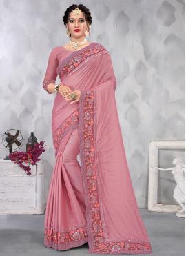Pink Sequins Faux Chiffon Designer Saree
