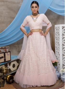 Pink Sequins Net Trendy Lehenga Choli