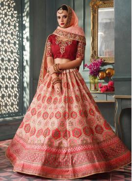 Pink Silk Engagement Lehenga Choli
