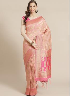 Pink Silk Festival Designer Traditional Saree