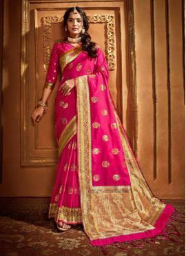 Pink Silk Reception Classic Designer Saree