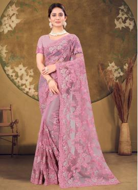 Pink Stone Work Net Designer Saree