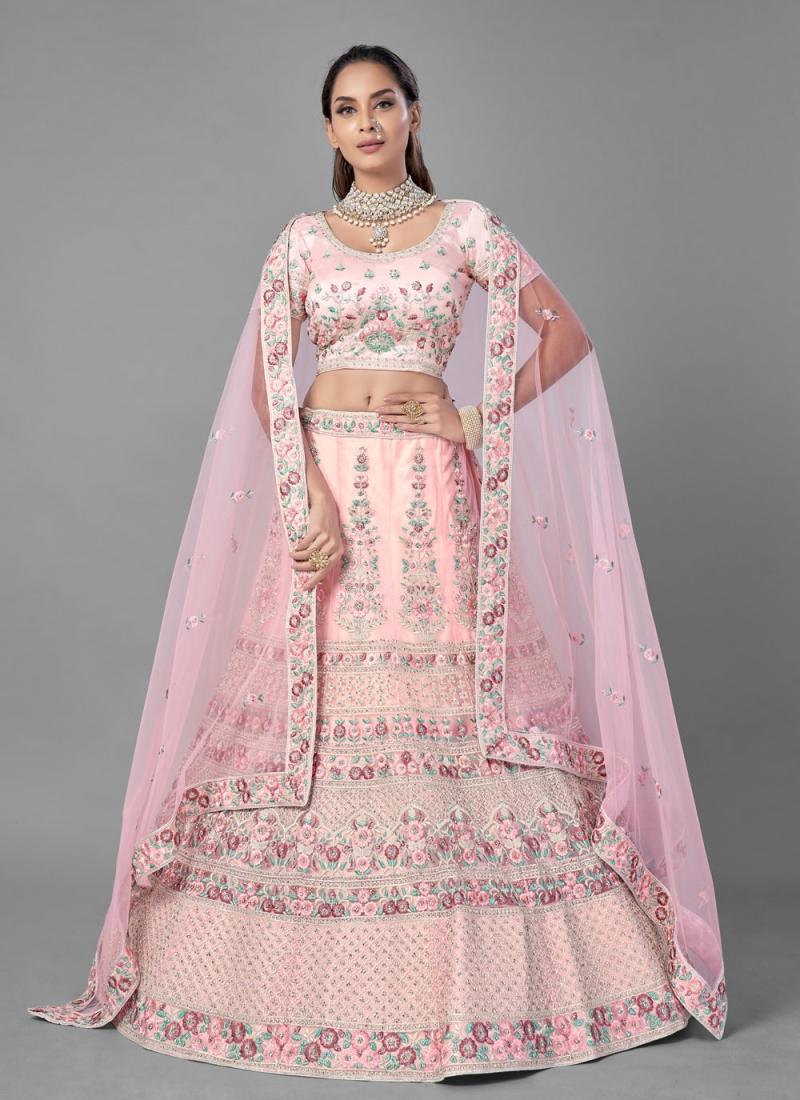 Pink Thread Engagement Lehenga Choli