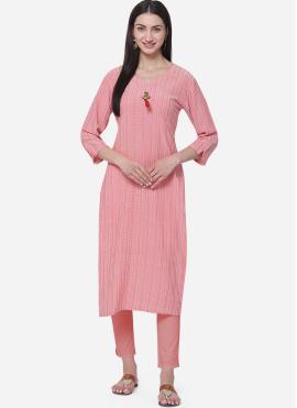 Pink Viscose Plain Casual Kurti