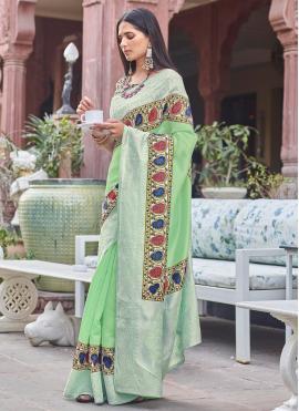 Piquant Digital Print Green Fancy Fabric Traditional Designer Saree