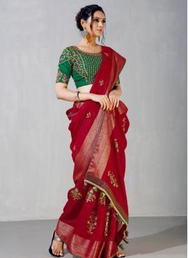 Piquant Maroon Embroidered Classic Designer Saree
