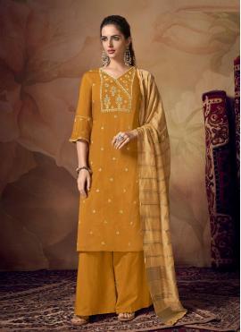 Piquant Mustard Embroidered Designer Palazzo Salwar Suit