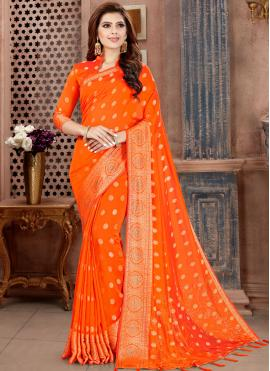 Piquant Orange Party Classic Saree