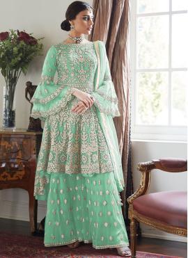 Piquant Sea Green Ceremonial Designer Palazzo Salwar Suit