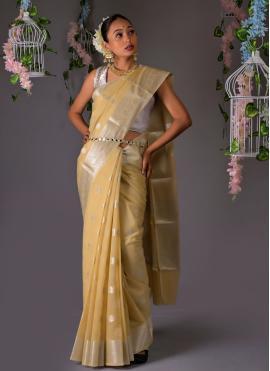 Piquant Weaving Beige Designer Traditional Saree