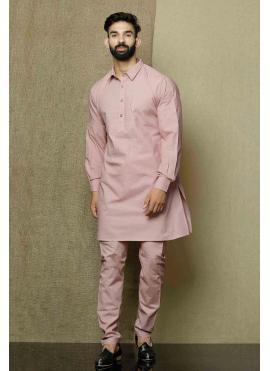 Plain Cotton Kurta Pyjama in Pink