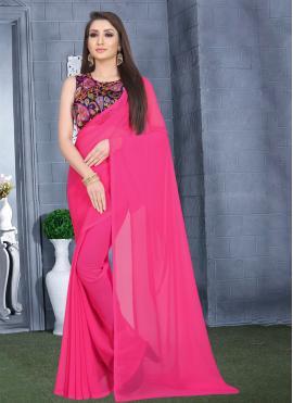 Plain Faux Georgette Classic Saree in Pink