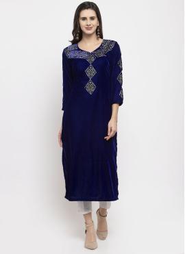 Plain Velvet Readymade Salwar Suit in Blue