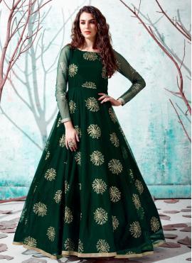 Pleasance Green Fancy Net Designer Gown