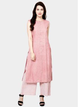 Pleasance Printed Cotton Pink Designer Kurti