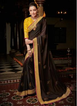 Pleasance Silk Wine Weaving Contemporary Saree