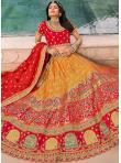 Pleasing Aari Orange and Red Trendy Lehenga Choli - 1