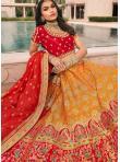 Pleasing Aari Orange and Red Trendy Lehenga Choli - 2