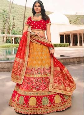 Pleasing Aari Orange and Red Trendy Lehenga Choli