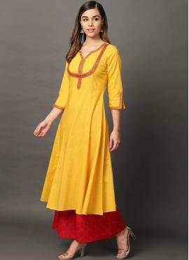 Pleasing Embroidered Yellow Casual Kurti