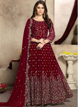 Pleasing Red Embroidered Faux Georgette Trendy Anarkali Salwar Kameez