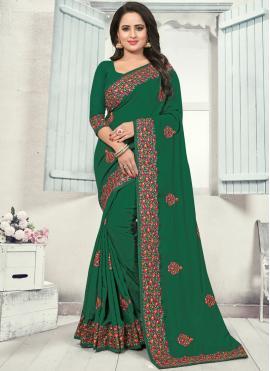 Pleasing Resham Green Silk Silk Saree