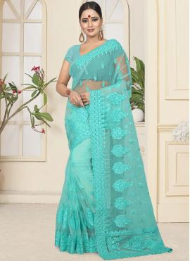 Pleasing Resham Net Turquoise Classic Designer Saree