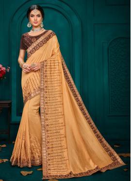 Poly Silk Beige Classic Saree