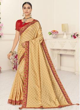 Poly Silk Beige Patch Border Designer Traditional Saree