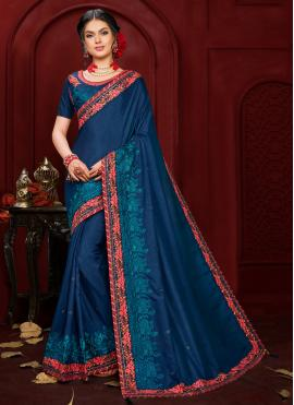 Poly Silk Navy Blue Contemporary Saree
