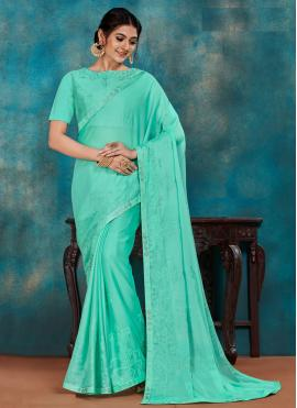 Poly Silk Sea Green Embroidered Traditional Saree