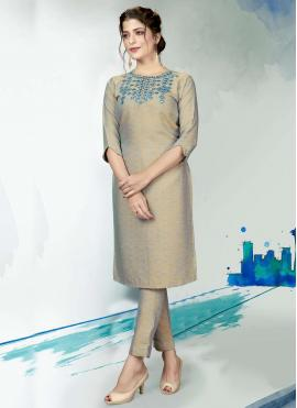 Polyester Grey Embroidered Designer Kurti