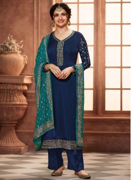 Prachi Desai Georgette Satin Embroidered Blue Pant Style Suit