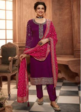 Prachi Desai Magenta Pant Style Suit